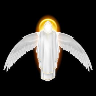 Боги ангел-хранитель в белом платье с золотым сиянием и крыльями вниз на черном фоне. архангелы изображение. религиозная концепция