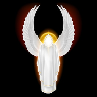 黒い背景に金色の輝きを持つ白いドレスの神々の守護天使。大天使のイメージ。
