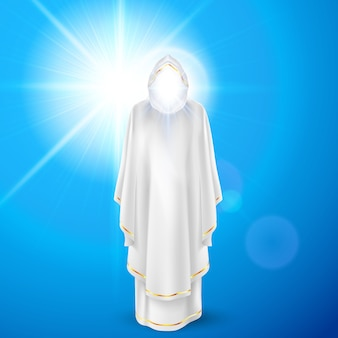 Gods guardian angel in white dress against sky background and bright sun flare. religious concept