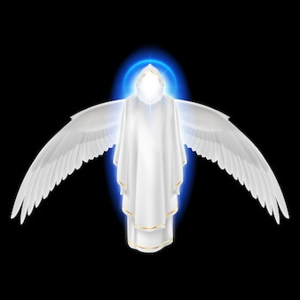 Gods guardian angel in white dress with blue radiance and wings down on black background.