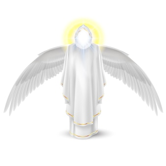 Gods guardian angel in white with wings down. archangels image. religious concept