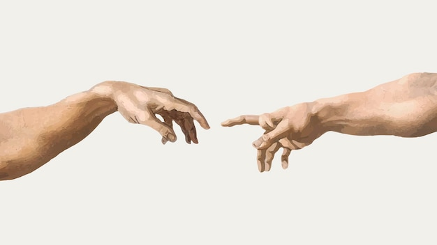 Gods hand vector sticker, creation of adam famous painting, remixed from artworks by michelangelo buonarroti