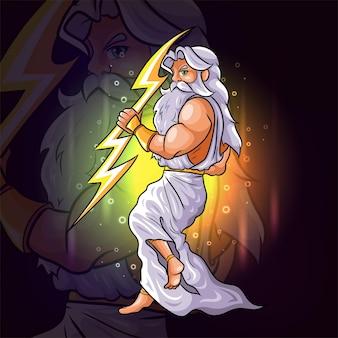 The gods of zeus with the golden lightning esport mascot design of illustration