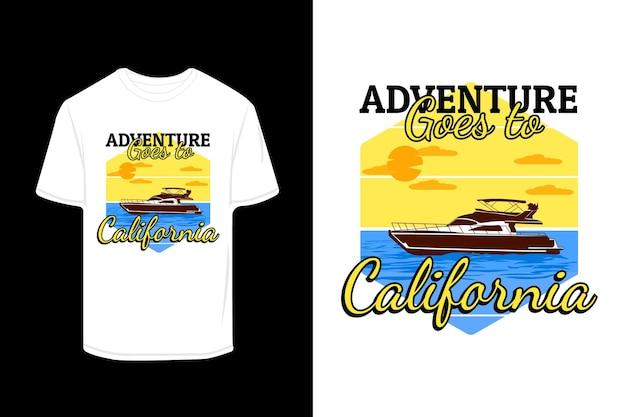 カリフォルニアのレトロなtシャツのデザインに行きます