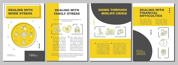 Going through midlife crisis brochure template. dealing with stress. flyer, booklet, leaflet print, cover design with linear icons. vector layouts for presentation, annual reports, advertisement pages