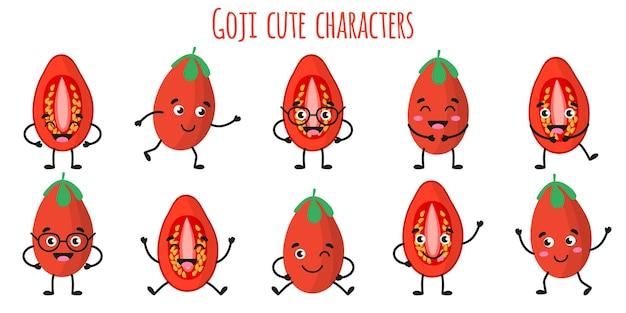 다른 포즈와 감정을 가진 goji 과일 귀엽고 재미있는 쾌활한 캐릭터