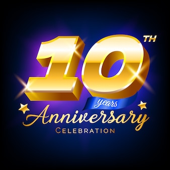 Gold 10 anniversary celebration emblem design