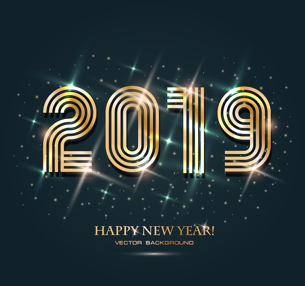 Gold 2019 happy new year on the background.