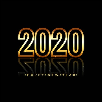 Gold 2020 happy new year text