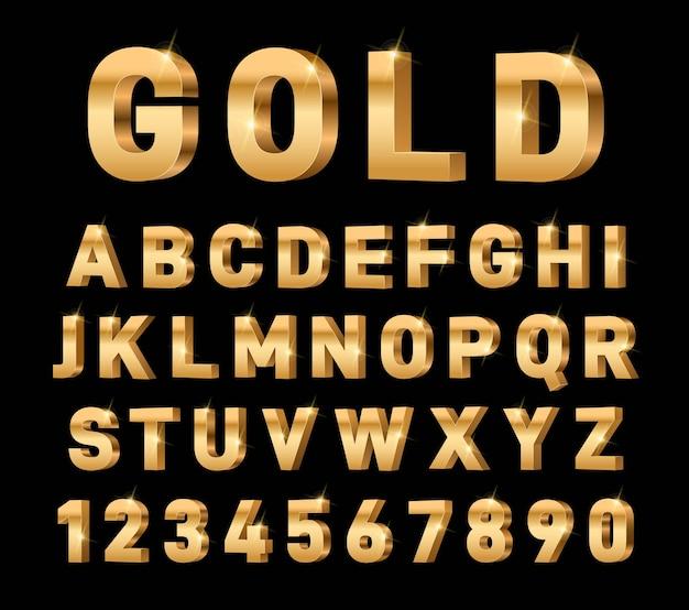 골드 3d 알파벳