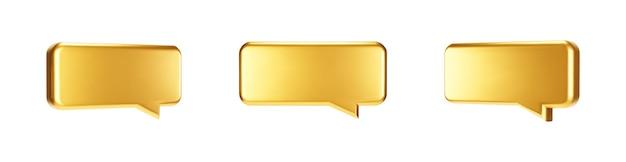 골드 3d 거품 이야기 세트 흰색 배경에 고립입니다. 광택 있는 황금 금속 연설 거품, 대화, 메신저 모양. 소셜 미디어 또는 웹 사이트에 대한 3d 렌더링 벡터 반짝이 아이콘