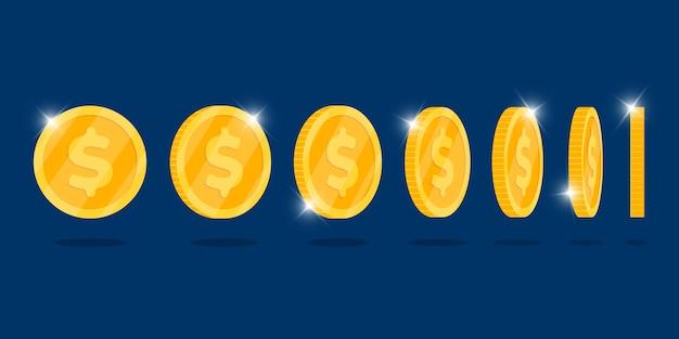 Золотая 3d монета вращается в разных положениях, установленных для анимации игр или приложений. бинго джекпот казино покер выигрышный элемент. денежные сокровища концепции плоские векторные иллюстрации