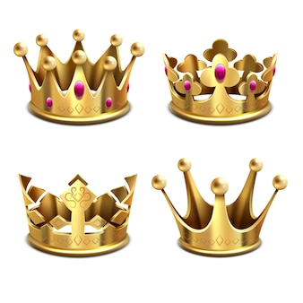 Gold 3d crown set. royal monarchy and kings attributes. king golden crown