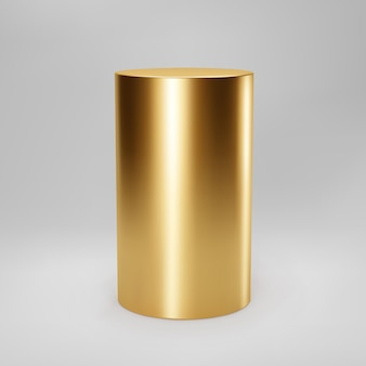 Gold 3d cylinder front view with perspective isolated on grey background. cylinder pillar, golden pipe, museum stage, pedestal or product podium. 3d basic geometric shape vector.