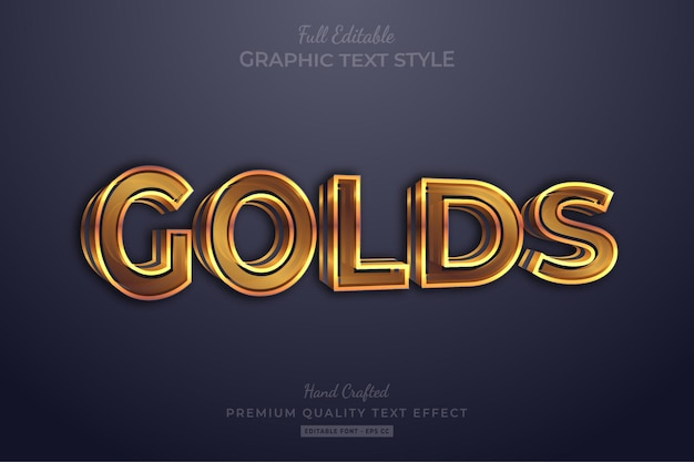 Gold 3d editable text effect font style
