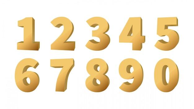 Золотые 3d номера. набор блестящий золотой объемный номер. векторные иллюстрации