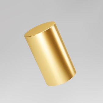 Gold 3d rotating cylinder isolated on grey background. cylinder pillar, golden pipe. 3d basic geometric shape vector.