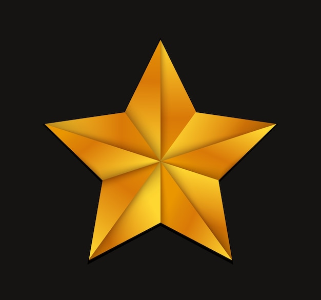 Gold 3d star icon