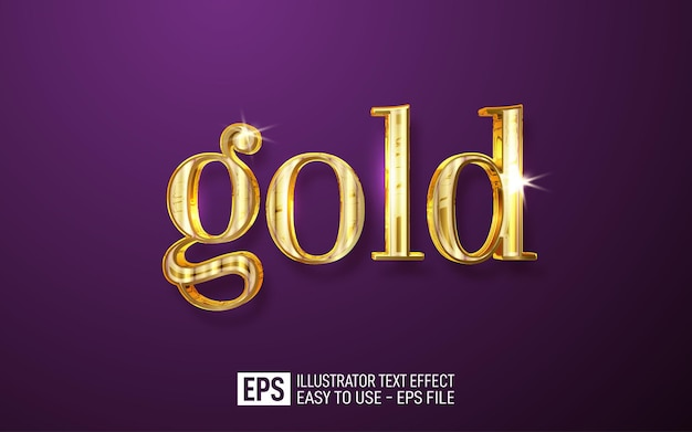 Gold 3d text editable style effect template