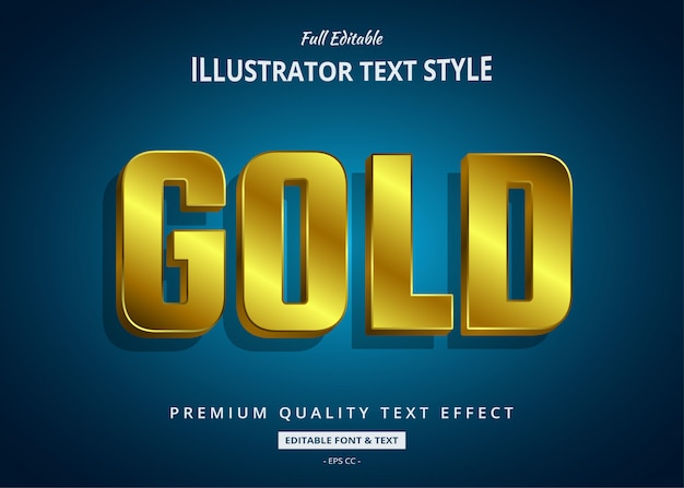 Gold 3d text style effect