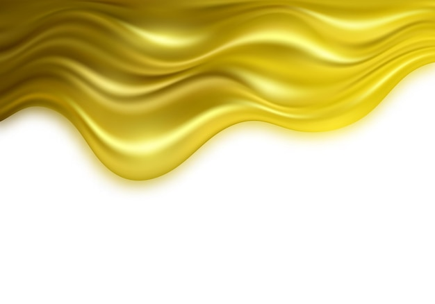 Золотая 3d волна на белом фоне роскошный золотой цвет потока волны фон