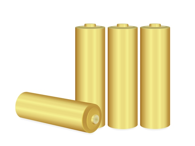 Gold aa batteries over white background