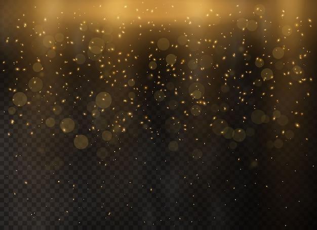 Золотые абстрактные частицы пыли боке. золотые звезды блестят особым световым эффектом.