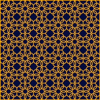 Gold abstract geometric seamless blue hexagon pattern