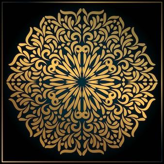 ゴールドの抽象的なマンダラアート要素装飾