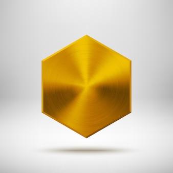 금속 질감 크롬 강철 골드 추상 다각형 육각 배지 기술 빈 버튼 템플릿