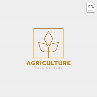 Gold agriculture farm line badge vintage logo