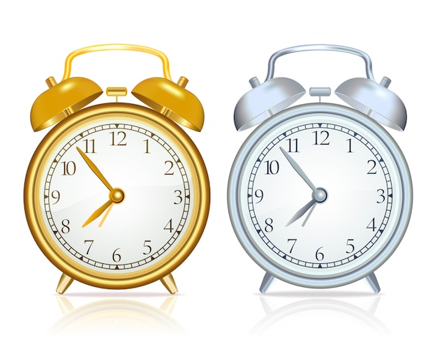 Gold alarm clock and silver alarm clock on white background