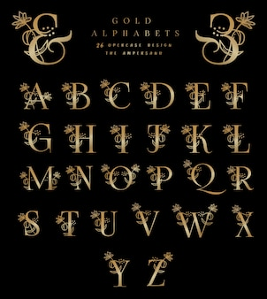 Gold alphabets 26 uppercase designs the ampersand