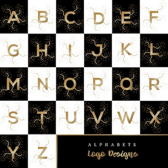 ゴールドアルファベットのロゴデザインテンプレート