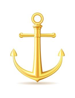 Gold anchor on white background. vector illustration