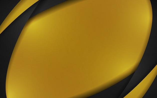 金と黒の抽象的な曲線要素の背景。ベクトル図コピースペースモダンなデザインコンセプト。