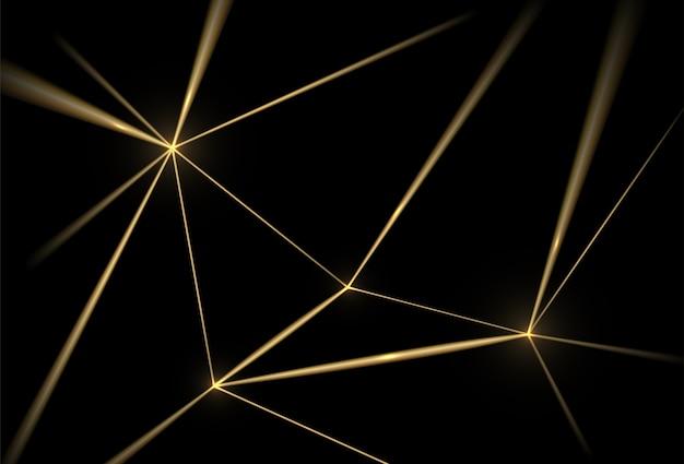 金と黒の背景。高級感のある幾何学的なライン、金色のグリッド。