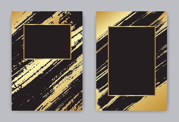 Шаблон обложки мазок золотой и черной кистью