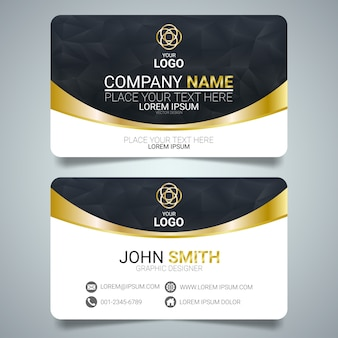 Gold and black creative business card template design.