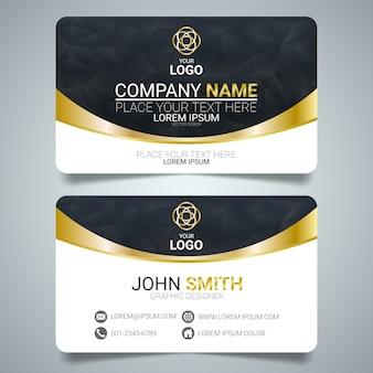 금색과 검은 색 크리 에이 티브 비즈니스 카드 템플릿 디자인입니다.