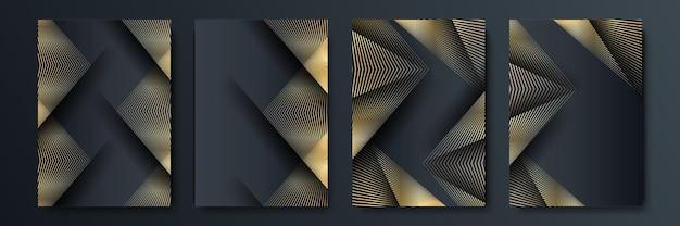 ゴールドと黒の豪華な背景デザインセット