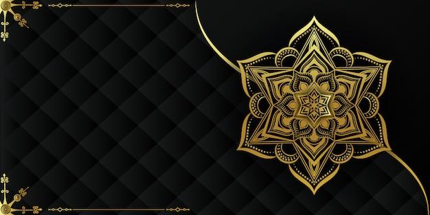 金と黒の装飾的なマンダラの背景