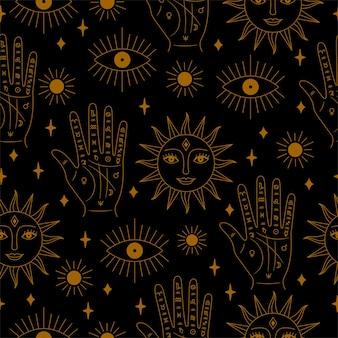 Золотой и черный бесшовные ладони и солнце узор в векторе