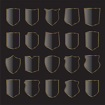 금색과 검은 색 방패 아이콘 모음입니다. 문장 학 방패, 중세 왕실 빈티지 배지