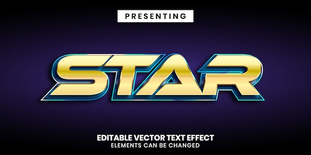 금색과 파란색 반짝이 금속 편집 가능한 동영상 텍스트 효과