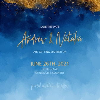 Золотая и синяя акварель свадебное приглашение