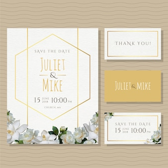Gold and Flowers Wedding Invitation