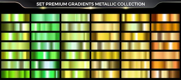 ゴールドとグリーンのグラデーションセットのコレクション、グラデーションのカラフルなパレットとテクスチャ。