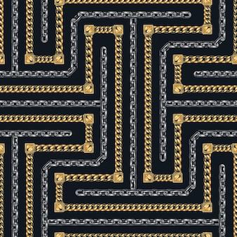 暗い背景にスタイリッシュなゴールドとメタルチェーンのシームレスなパターン
