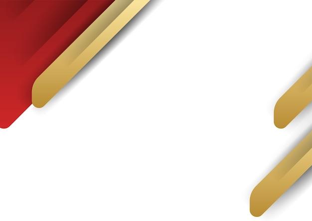 金と赤の抽象的な背景。金色の幾何学的な形とモダンな抽象的な赤い背景。甘くてエレガントな感じのためのモダンなテンプレートデザインについてのベクトルからのイラスト